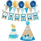 W&N Distribution 1/2 Birthday Boy 写真小道具 6ヶ月の男の子の誕生日 黄麻布テーマの誕生日。 バースデーバナー、1/2バースデーバルーン、バースデーハット、ケーキトッパー(ブルーと黄麻布)が含まれます。