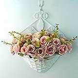 [XINXIKEJI]造花 バラ 手作りフラワー 30*35cm 花瓶付 壁掛け 観葉植物 きれい 薔薇 バラの造花 壁掛フラワー セット お..