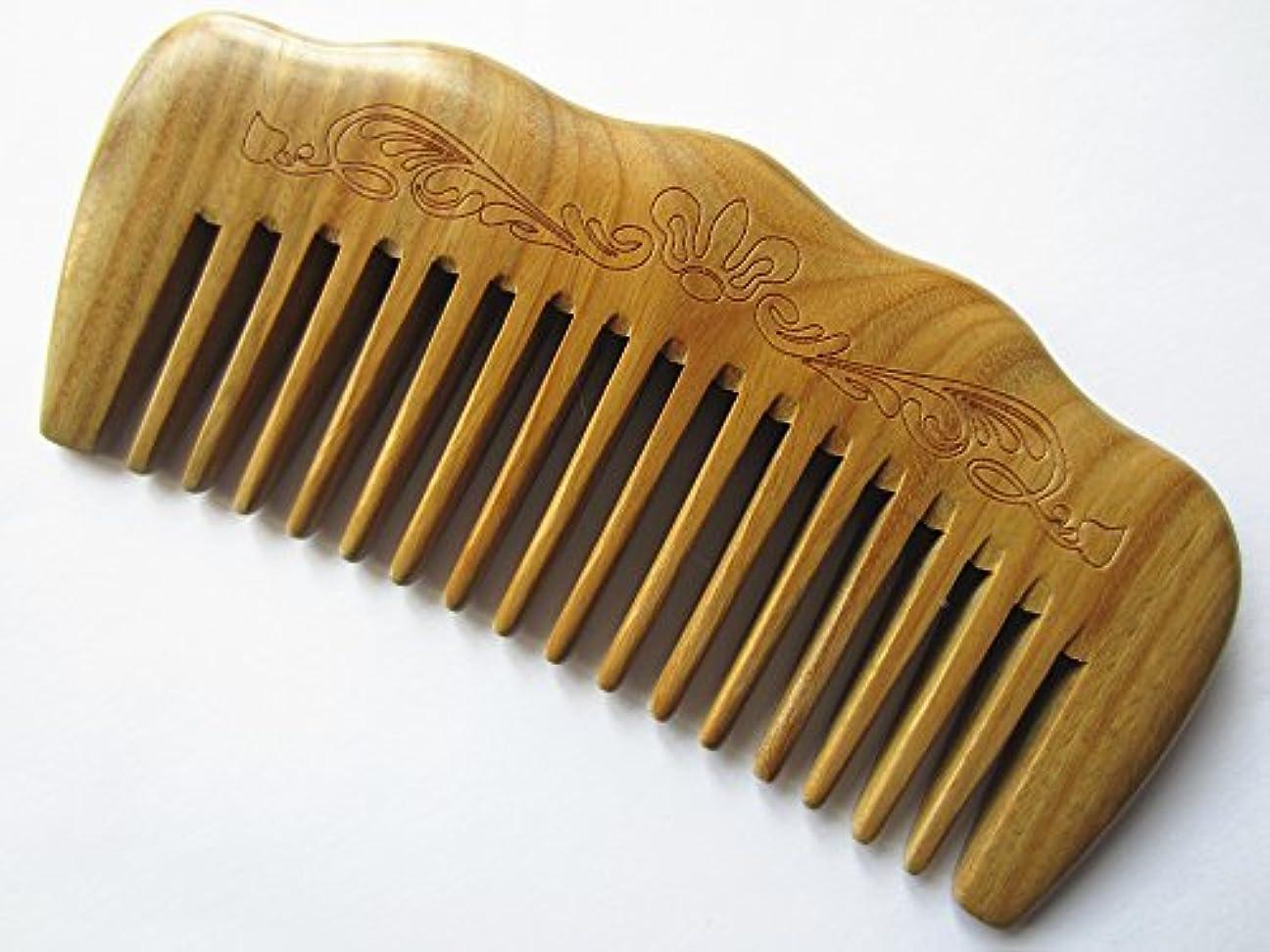 性能些細ウェイトレスMyhsmooth Gs-by-mt Wide Tooth Wood Handmade Natural Green Sandalwood No Static Comb with Aromatic Scent for Detangling...