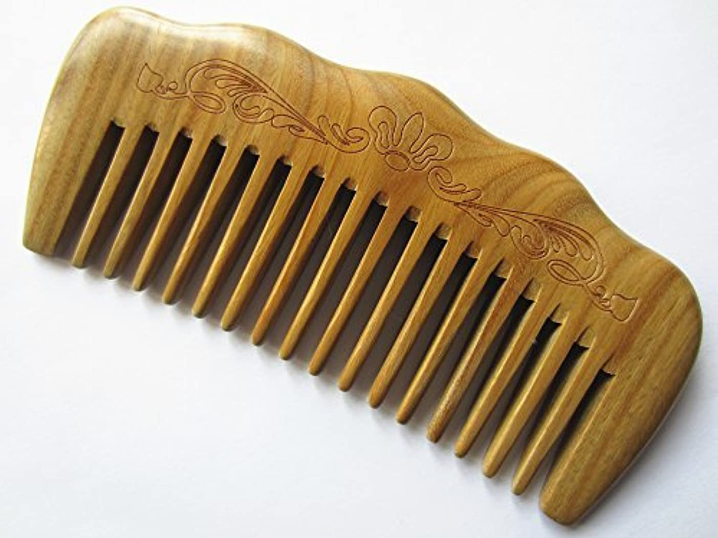 関税結晶肥沃なMyhsmooth Gs-by-mt Wide Tooth Wood Handmade Natural Green Sandalwood No Static Comb with Aromatic Scent for Detangling...