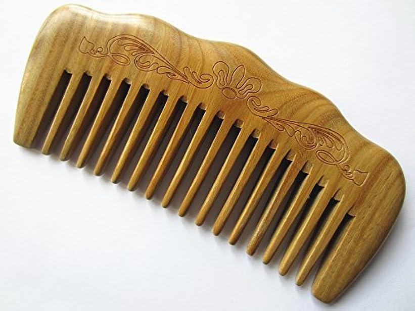 埋めるミッション排出Myhsmooth Gs-by-mt Wide Tooth Wood Handmade Natural Green Sandalwood No Static Comb with Aromatic Scent for Detangling...