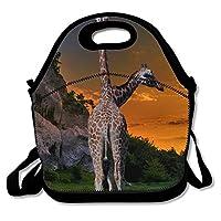 Africa Savanna Giraffe 断熱ランチバッグ ランチトートバッグ 旅行 学校 ピクニック ランチボックス メンズ&レディース&キッズ用