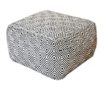 "rugs2clear Hand Made WithoutフィラーNatural /グレーリサイクルコットンTaiko Pouf ( 22 "" x22 "" x14 "")、1ピース"