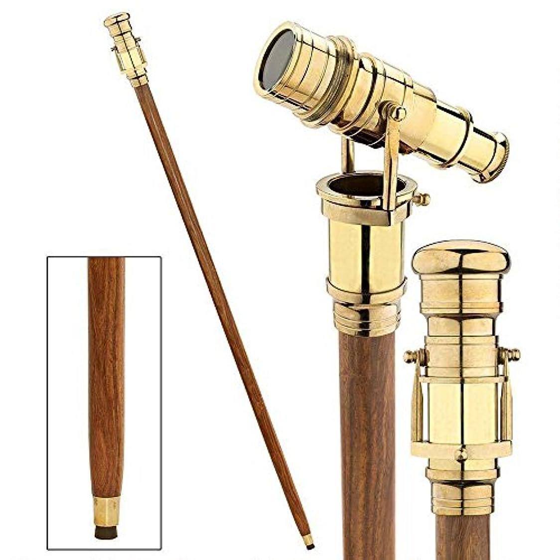 練るマウントバンク戦闘ヴィンテージ真鍮ハンドルVictorian望遠鏡ヘッド折りたたみ式木製Walking Stick Cane (真鍮仕上げ) D