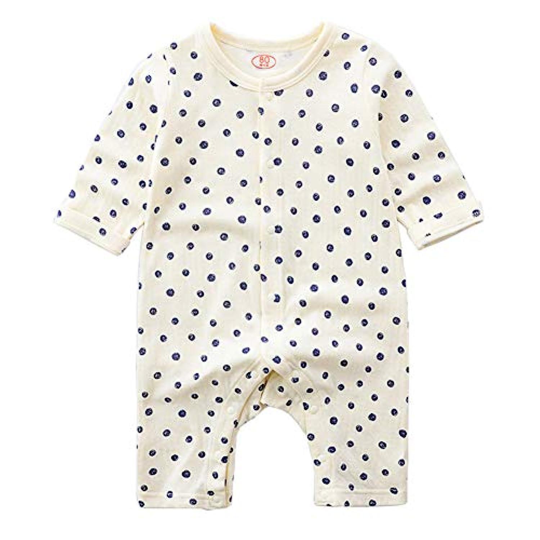 ALLAIBB ベビー服 ロンパース カバーオール 長袖 前開き 秋冬 男の子 女の子 新生児 コットン 肌着 size 60 (ドット柄)