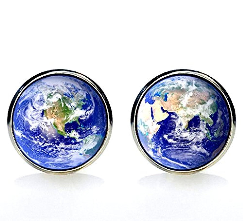 MFYS Jewelry [xiu-206] 地球儀 世界地図 ラウンド カフス[専用BOX付き]