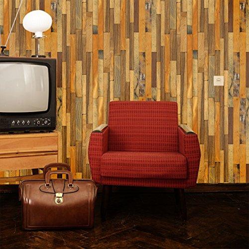 はがせるDIY壁紙シール + ハリーステッカー リフォームシール 粘着付き ランダムウッド 約50cm巾×15m巻