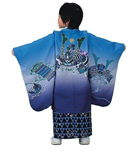 RK リョウコキクチ 七五三 男児 トータルセット 着物 アンサンブル&袴 10点セット (ブルー/兜(22))