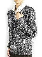 (モノマート) MONO-MART MONO-MART 8color ケーブル編み バルキー ニット セーター 暖 Vネック デザイナーズ メンズ 秋 冬