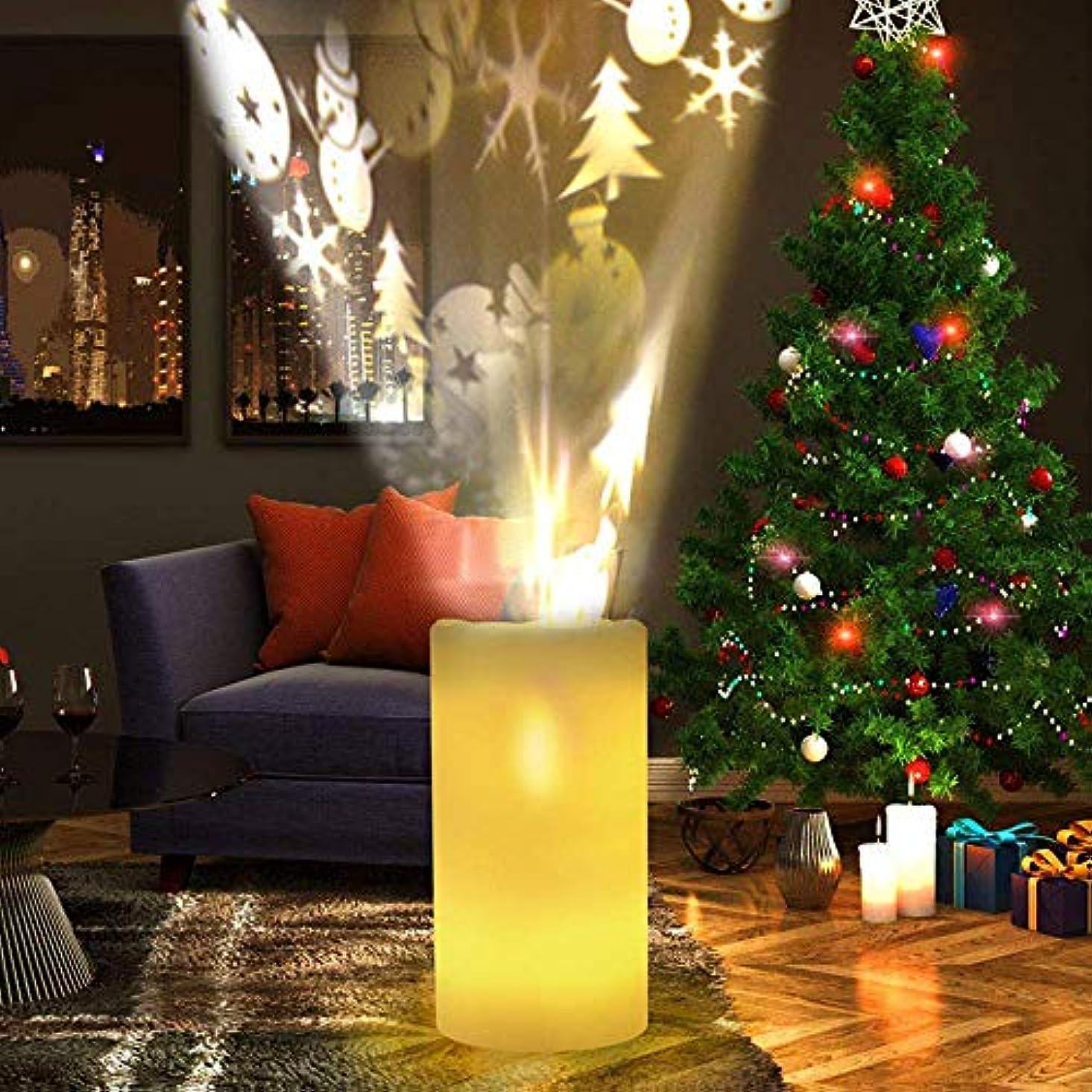 許可リビジョン手順クリスマスLEDプロジェクターキャンドル、リモートコントロールタイマー付き明滅キャンドルプロジェクションランプナイトライトバッテリー式フレームレスキャンドル、結婚式誕生日パーティーフェスティバルホームインテリア