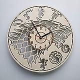 Game of Thrones Stark ゲーム・オブ・スローンズ木製掛け時計ー完璧で美しく作られたー現代アートで自宅を飾ろうー彼と彼女にユニークなギフトーサイズ12インチ(30 ?)