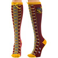 Harry Potter Series Gryffindor Faux Lace Up Cuff Knee High Socks
