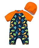 Bonverano ラッシュガード 水着 男の子 半袖 UPF50+ UVカット 0-3歳 ワンピース キャップ付き (さかな2, 3-6M)