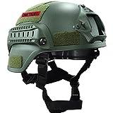 OneTigris サバゲー用ヘルメット  米軍風レプリカ ヘルメット MICH 2000 NVGマウントレール付き ABS製 かっこいい サバゲー装備 保護用 プロテクター (ミリタリーグリーン)
