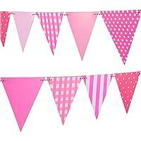 誕生日バナーペナントlseng Happy誕生日パーティーバナーペナントフラグのパーティー – ピンク(12個)