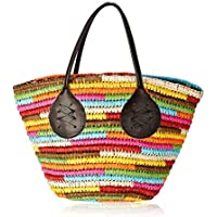 Women Straw Beach Tote Bag Rainbow Handmade Straw Woven Colorful Stripe Handbag Shoulder Bag Summer Holiday Woven Bag