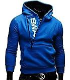 【Smile LaLa】 メンズ パーカー スウェット トレーナー ロゴ シンプル カジュアル 長袖 ブラック ブルー グレー レッド (L, ブルー)