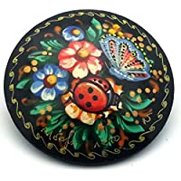 Russian hand painted Pin Brooch Ladybug Flowers Butterfly, Signed by BuyRussianGifts [並行輸入品]