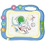 お絵描きボード 大画面(35.5*28.5cm) かいて育脳 知育玩具シリーズ 持ち手付 カラフル (blue)