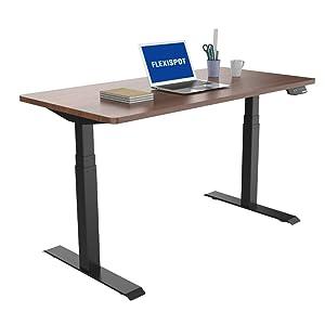 FLEXISPOT スタンディングデスク 電動式昇降デスク 組立簡単(ネジ六本だけ)障害物検知機能 高さ調節パソコンデスク140*70cmテーブル (脚ブラック天板マホガニー)