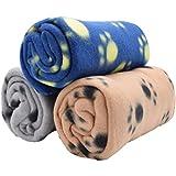 factus ペット 犬 猫 ブランケット フリース マット 毛布 タオル 暖かい 洗える 肉球柄 (A.3枚セット)