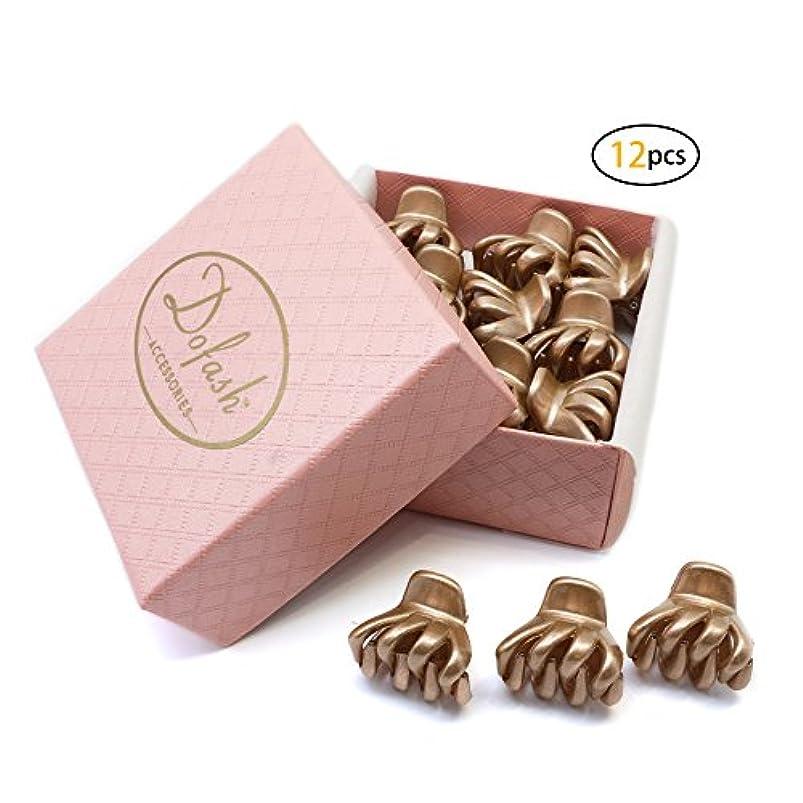 セレナ内訳郵便Dofash 12個ローズゴールド ミニバンスクリップ、ミニヘアクロークリップ プラスチック 2CM ヘアクリップ ギフトボックス付き 女の子のためと子供用
