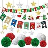 ミウォルナ クリスマス 26点セット 飾り付け 飾り 装飾 壁飾り デコレーション 豪華 大容量セット ボンボンフラワー ガーランド オーナメント ハンギングスター ツリー 星