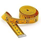 Jimjis メジャー 巻き尺 テープメジャー 巻尺 300cm/120inch ジャーウエスト 両面印刷 小型メジャー スリーサイズ テーラー縫製 測定用 (イエロー)