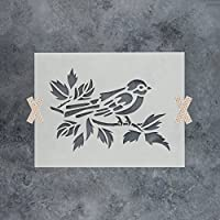 "Bird on Branchステンシルテンプレートの壁、ペイントする工芸–再利用可能なステンシルで小さい大きいサイズ 18""x12"""