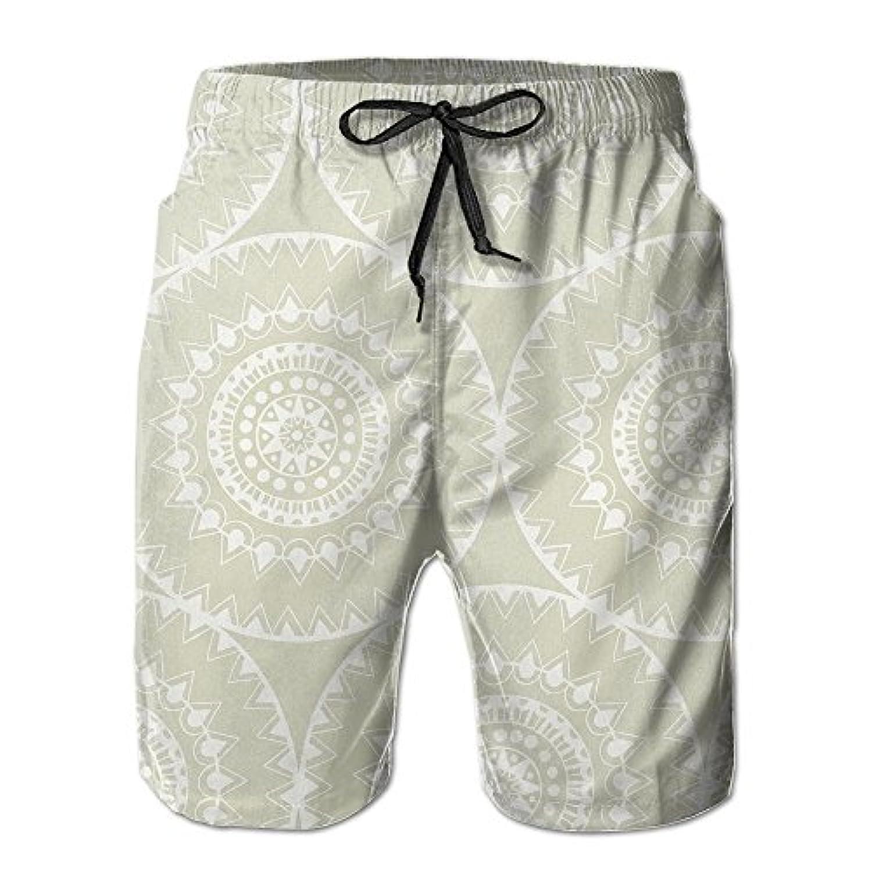 メンズ ビーチショーツ ショートパンツ 復古プリント 水着 スイムショーツ サーフトランクス インナーメッシュ付き 通気 速乾