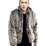 (コージーエージ)CozyAge メンズコート フェイクフォックスファー 毛皮コート 防寒 軽量 アウター 秋冬 暖か かっこういい メンズファッション ジャケット/3XL