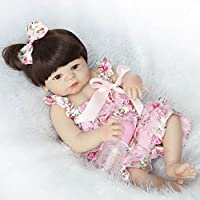 フルシリコン赤ちゃん女の子Rebornベビー人形55 cm Real Look Lifelike赤ちゃんおもちゃwithドレス