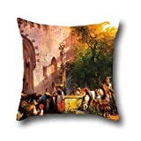 Oil Painting Friedrich Gauermann - At The Monastery Fountain Pillow Cases ,best For Gril Friend,seat,husband,bf,play Room,bedding 16 X 16 Inches / 40 By 40 Cm(two Sides)