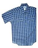 ロックマウント Plaid Short Sleeve Western Shirt RM1692-NVY LIME-SML (S)