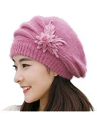 yosangレディースウサギ毛かぎ針編みニットベレー帽キャップ冬ハンドメイドウールHat with Flower