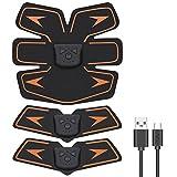 EchoAMZ EMS 腹筋ベルト USB充電式 腹筋 腕筋 筋トレ器具 トレーニングマシーン 「6種類モード 10段階強度 日本語説明書付属」 (オレンジ)