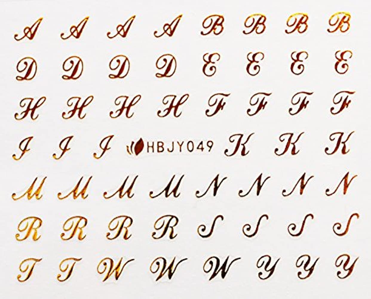 老人ホバー専門アルファベットやメッセージ柄のネイルシール (筆記体GOLD)