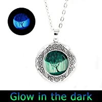 glowlala ® Glowing Weeping Willowロケットネックレスシルバー真鍮またはブラックツリーLocketロケットネックレスツリージュエリーWearableアートwithチェーン