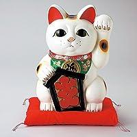 常滑焼【縁起置物/貯金箱】富本大入白猫(座布団付き) 10号 (F2544) 左手を上げる猫はお客を招く!