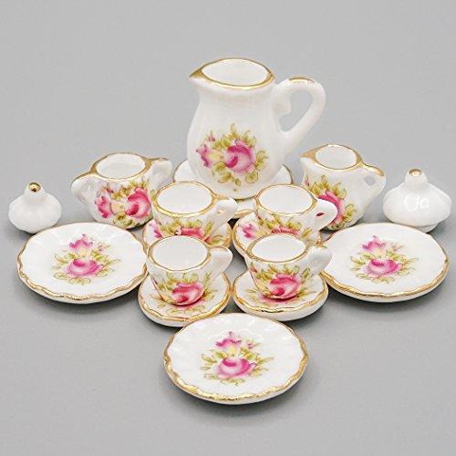 【Odoria 陶器製ティーセット】15点セット 1/12 ミニチュア食器 レッド フラワー 花柄 ドールハウス