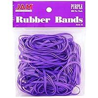 JAM Paper ゴムバンド - 標準サイズ カラフルなゴムバンド - 100個のカラーゴムバンド パープル