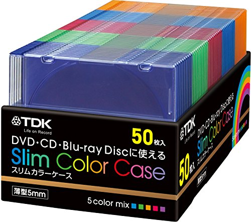 TDK DVD/CD用 5mmスリムカラーケース 5色カラーミックス 50枚入り CASE-PCSM50TA