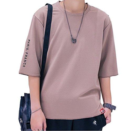 oolivupf tシャツ メンズ 半袖 カットソー 七分袖 五分袖 高品質 おしゃれ 快適な 無地 16色 M-3XL 軽い 柔らかい カジュアルな服装