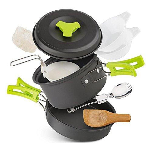 Awstech キャンプクッカー アウトドア食器セット 登山用鍋 超軽量1-2人用 アウトドア・ハイキング・旅行・キャンプ用調理器具 11点セット FDA認証