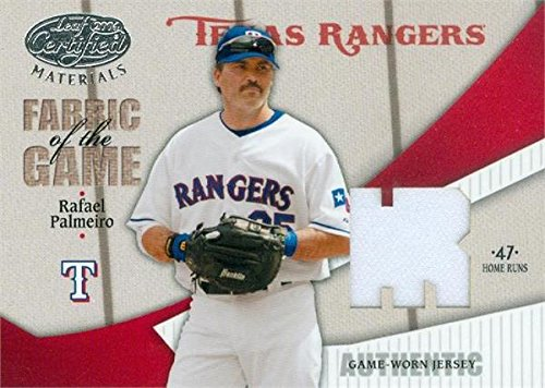 Autograph Warehouse 343599 Rafael Palmeiro Player Worn Jersey Patch Baseball Card - Texas Rangers 2004 Leaf Certified Materials No. FG185 LE 27 & 47