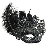 Nanle Halloween Ornate Blackコロンビーナフェザーマスク (色 : 黒)