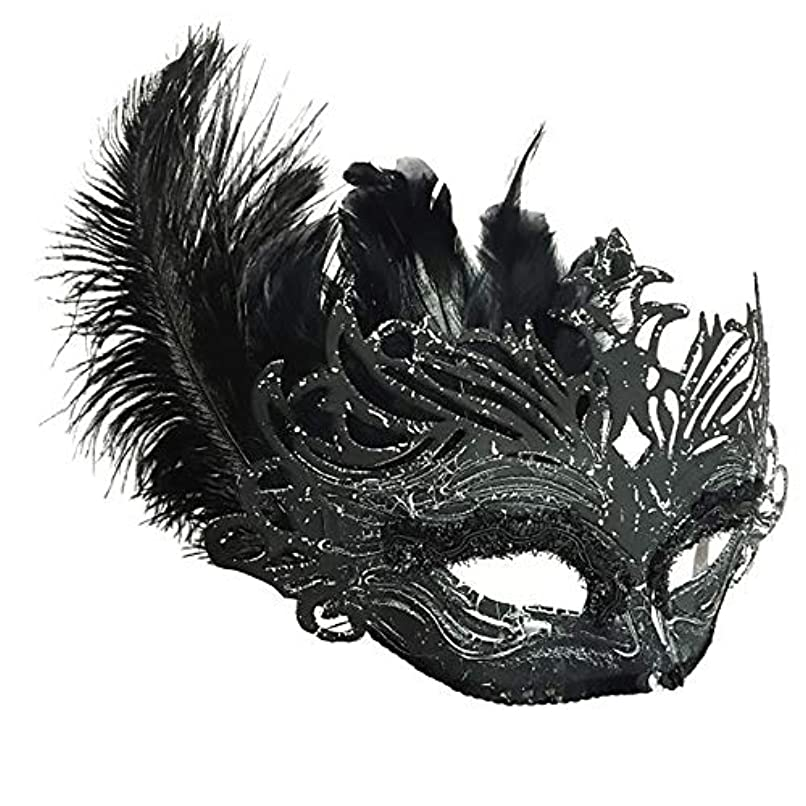 フィードバック暗殺薬用Nanle Halloween Ornate Blackコロンビーナフェザーマスク (色 : 黒)