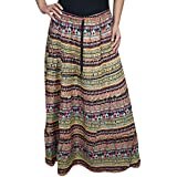 Womens Gypsy Skirt Laura Handmade Modern Printed Cotton Maxi Skirts M/L