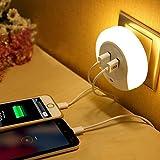 多機能ミニ光制御ナイトライト 2個USBインタフェース 付き LED USB 小夜灯/常夜灯/USB充電式LED自動人灯