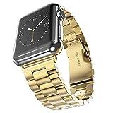 Apple Watch 金属ベルト Evershop 42mmステンレス ベルト ビジネス風 時計バンド 腕時計ストラップ (金)